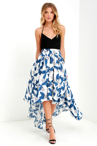 image Tropical Getaway Blue and Ivory Floral Print High-Low Skirt