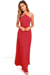 image Pleasantly Surprised Red Backless Maxi Dress