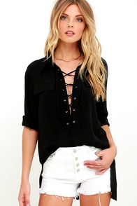 You Know It Black Long Sleeve Lace-Up Top