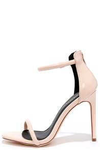 image Keen Eye Nude Patent Ankle Strap Heels