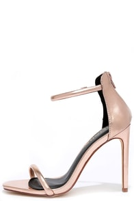 Keen Eye Rose Gold Ankle Strap Heels
