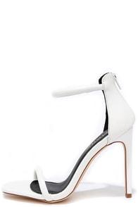 Keen Eye White Ankle Strap Heels
