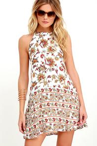 Harvest of Love Ivory Print Halter Dress