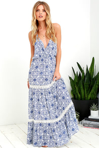 Relaxation Station Ivory and Blue Crochet Maxi Dress