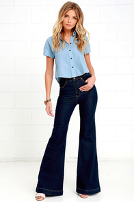Rollas Eastcoast Dark Wash High-Waisted Flare Jeans