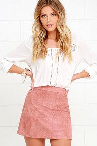 Shenandoah Mauve Suede Mini Skirt