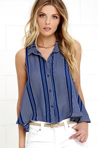 Valiance Ivory and Blue Striped Top