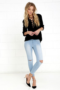 Sweet Something Light Wash Distressed Ankle Skinny Jeans