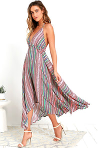 image Change of Scenery Mauve Print Midi Dress