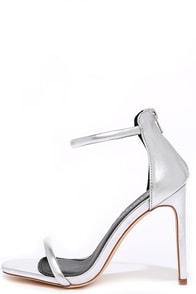 Keen Eye Silver Ankle Strap Heels