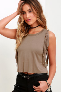 Strings Attached Taupe Fringe Top
