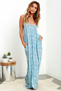 Global Gallivant Ivory and Blue Print Maxi Dress at Lulus.com!