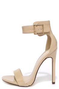 image My Delicious Canter Dark Beige Patent Ankle Strap Heels