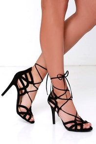 Free Rein Black Suede Lace-Up Heels