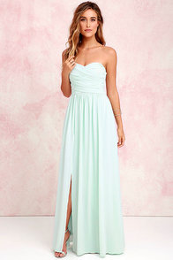 Moonlight Serenade Mint Strapless Maxi Dress