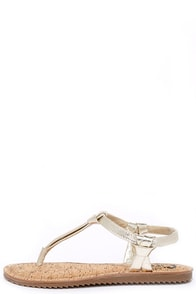 Image Circus by Sam Edelman Shaw Jute Gold Thong Sandals