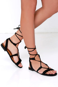 image Floating on Air Black Nubuck Lace-Up Sandals