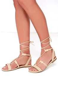 Floating on Air Beige Nubuck Lace-Up Sandals