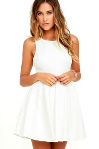 Sweet Queen Ivory Lace Skater Dress