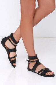 Walking in the Sun Black Gladiator Sandals