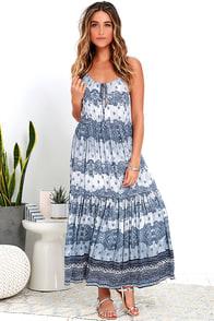 image Somedays Lovin' Open Eyes Navy Blue Print Midi Dress