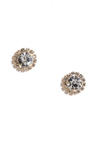 image All the Blings Gold Rhinestone Earrings