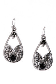 image Bloomin' Mood Silver and Black Earrings