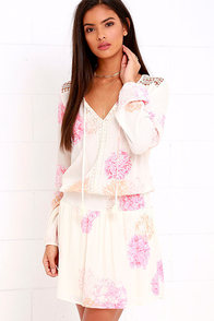 image Blossom a Day Ivory and Pink Floral Print Dress