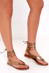 image Hidden Altar Light Bronze Lace-Up Thong Sandals