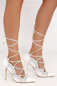 Lace Up White Heels