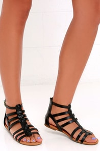 Sand a Chance Black Gladiator Sandals