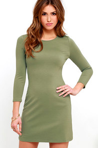 image Perfectly Posh Olive Green Long Sleeve Dress