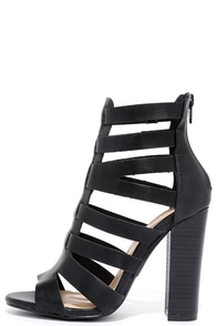 Here for the Party Black Caged Heels