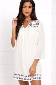 image Ocean Air Cream Embroidered Shift Dress