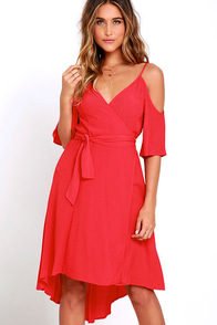 Worldwide Winner Coral Red High-Low Wrap Dress