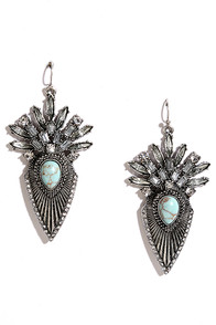 image Castellated Cutie Silver and Turquoise Earrings