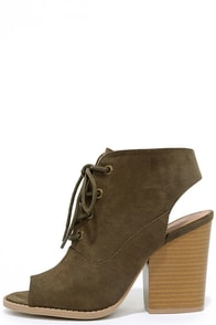 Forever Adored Khaki Suede Lace-Up Booties