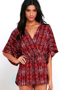 On the Road Davao Red Print Romper
