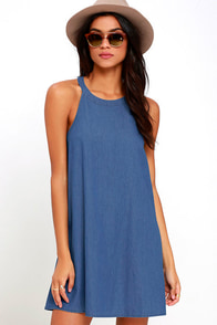 image Take a Gander Blue Chambray Swing Dress