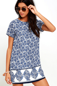 Taj Mahal Tour Blue Print Shift Dress