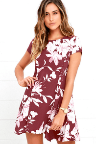 Through the Fields Marsala Red Floral Print Dress