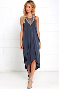 Mood and Melody Washed Blue High-Low Dress