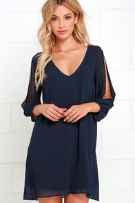 Shifting Dears Navy Blue Long Sleeve Dress