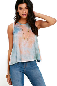 From Here to There Peach and Blue Tie-Dye Top at Lulus.com!