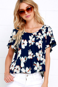 Variety of Life Navy Blue Floral Print Top