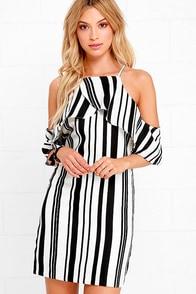 JOA Coastal Cruise Black and White Striped Dress at Lulus.com!
