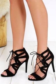 Holds True Black Suede Lace-Up Heels