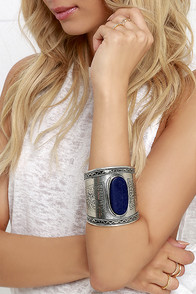 Up to Cuff Blue and Silver Bracelet at Lulus.com!