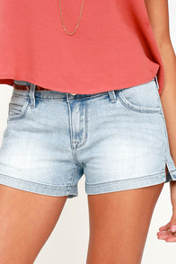 Like-Minded Light Wash Denim Shorts