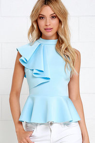 image Forever More Light Blue Peplum Top